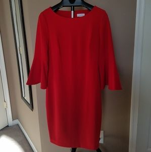 Red Calvin Klein Dress w/ long bell sleeve, size12
